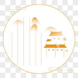 AI绘制中国风山水意境明信片图片