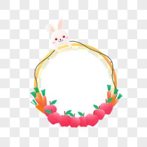 ai矢量渐变可爱兔子苹果胡萝卜边框图片