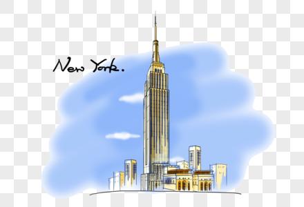 纽约地标帝国大厦手绘风格图图片