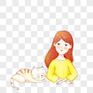 女孩和猫图片
