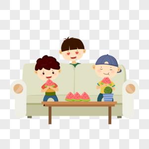 坐在沙发上吃西瓜的小朋友图片
