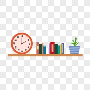 钟表书架盆栽图片