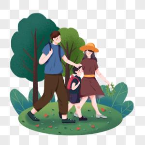 踏青手绘全家旅游插画元素图片