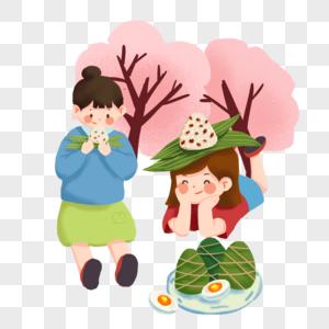 端午节手绘吃粽子插画小清新元素图片