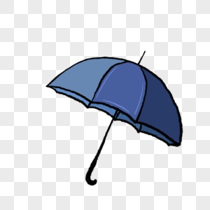 一把蓝色的雨伞插图图片