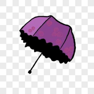 一把打开的紫色的雨伞插图图片