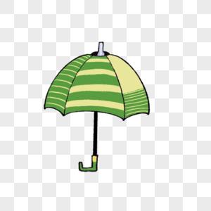 一把绿色可爱的雨伞插图图片