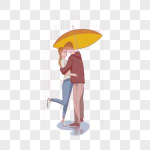 雨中的情侣图片