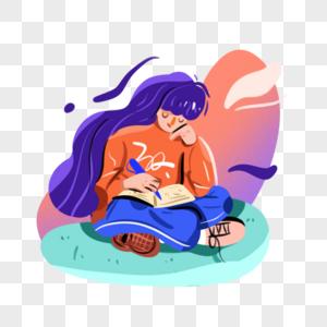 世界读书日正在读书的长发女孩图片