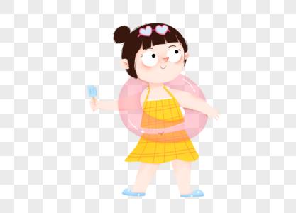 初夏小女孩游泳吃雪糕图片
