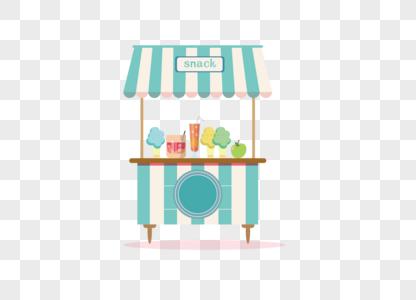 AI矢量图可爱卡通小吃美食房车图片