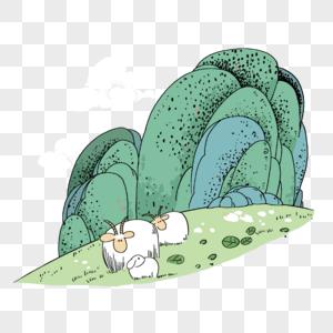 中国风山水卡通漫画图片