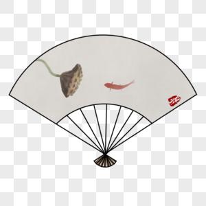 手绘节气夏至水墨中国风古风扇子图片