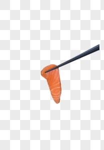 筷子夹三文鱼片图片