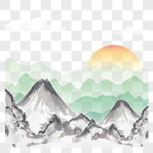 矢量渐变中国风山间日出水墨画图片