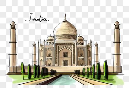 印度地标泰姬陵创意手绘图片