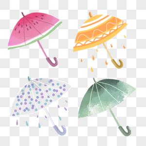 夏天雨伞西瓜水彩手绘渐变装饰图案图片