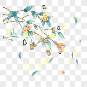 开满桃花的树枝图片
