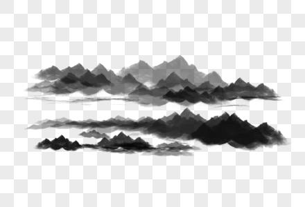 手绘水墨群山图片