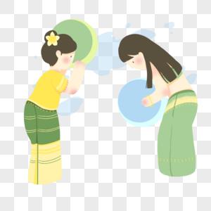 泼水节手绘插画元素图片