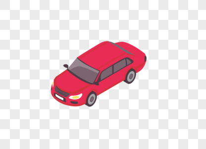 AI矢量图红色小轿车卡通可爱图片