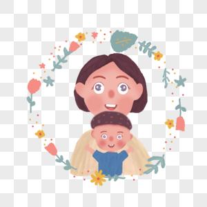 母亲节妈妈与儿子插画图片