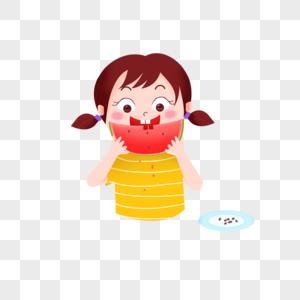 吃西瓜的女孩儿图片