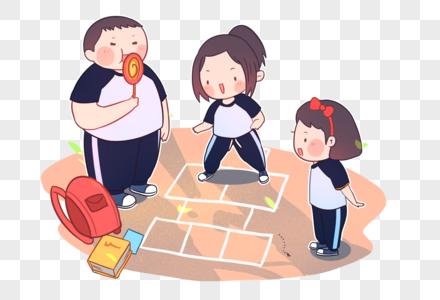 儿童节童年跳飞机可爱卡通插画图片