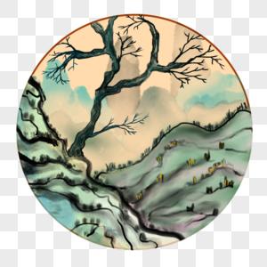 中国风水墨风景老树山坡图片