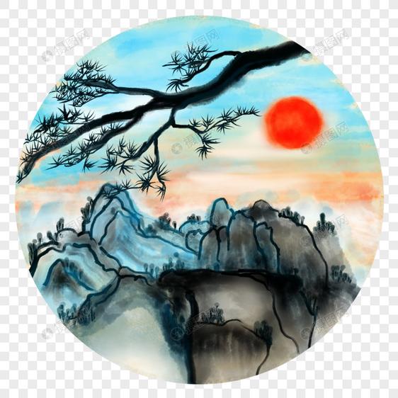 中国风水墨水彩华山松树日出图片