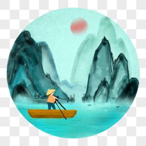 江南渔歌之划船渡江图片