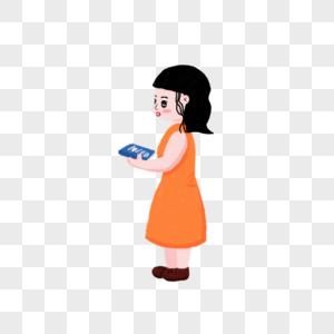拿书的女孩图片