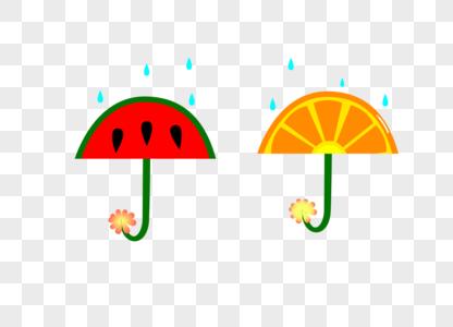 西瓜柠檬水果卡通雨伞矢量图图片