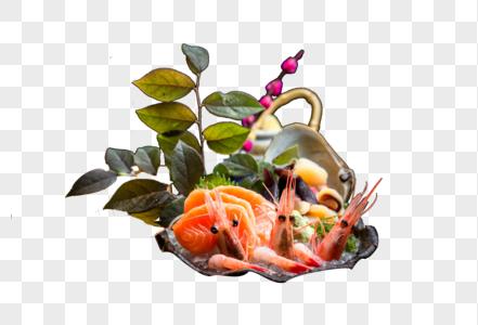 甜虾三文鱼刺身拼盘图片