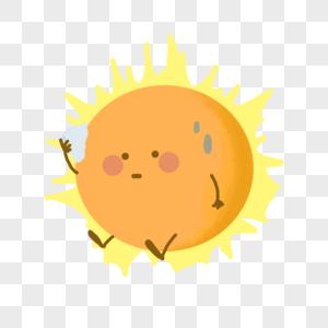 太阳烈日气象天晴炎热卡通图片
