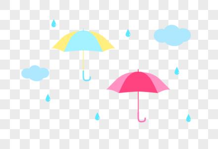 雨伞雨滴云朵矢量小素材图片