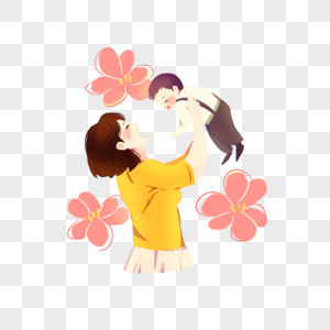 母亲节温馨插画图片