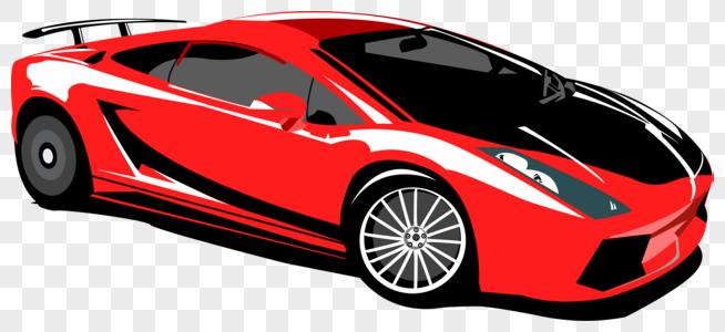 交通工具红色跑车矢量图元素素材图片