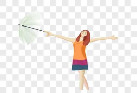 拿着雨伞的女孩图片