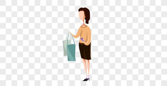 扁平化购物回家女子图片