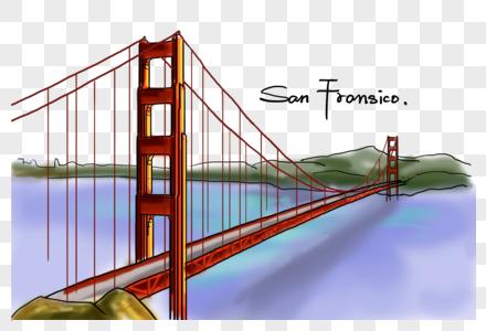 美国旧金山地标金门大桥手绘图片