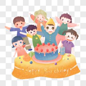 卡通手绘生日吃蛋糕PNG素材图片