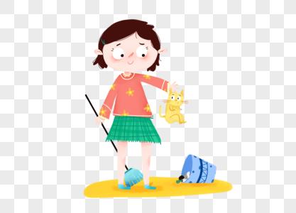 五一劳动节小女孩打扫卫生图片