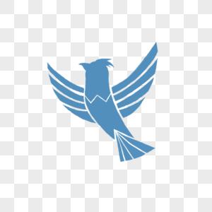 蓝色手绘鸟儿剪影图片