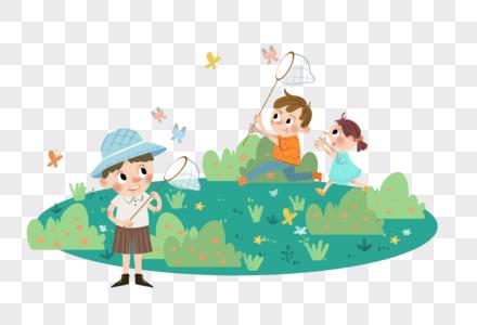 六一儿童节捉蝴蝶图片