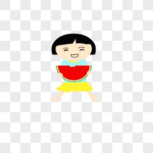 手绘卡通吃西瓜的小孩图片