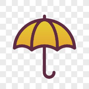 卡通长柄雨伞黄色图片