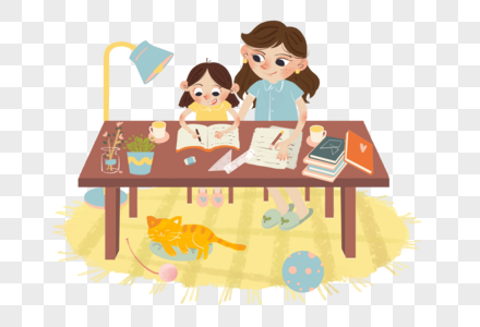 母亲节创意儿童插画免抠元素图片