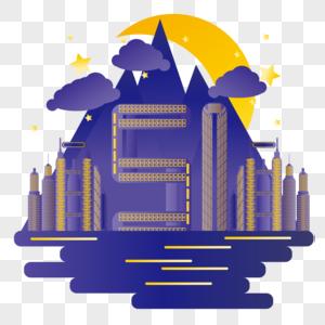 扁平化五一劳动节城市数字建筑图片