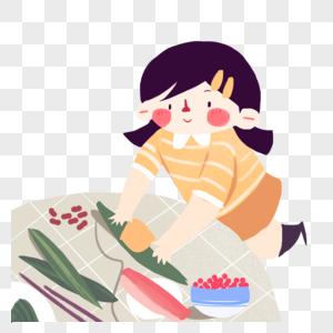 端午节小女孩包粽子可爱卡通图片